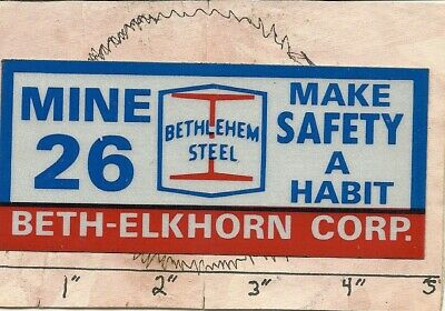 "Bethlehem Steel Coal Co -Hard Hat-Coal Mining Sticker-Decal ""very Rare"""