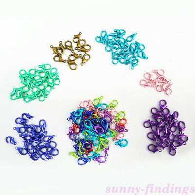 50Pcs Mixed Colorful Lobster Claw Clasps Hook Connector For DIY Jewelry Findings