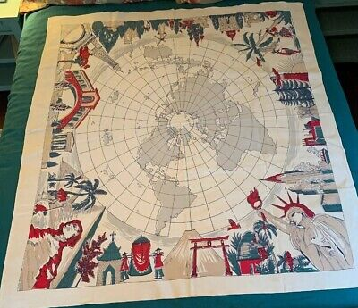 Vtg Tourist Around The World Global Rect.Tablecloth Paris Venice NYC Egypt