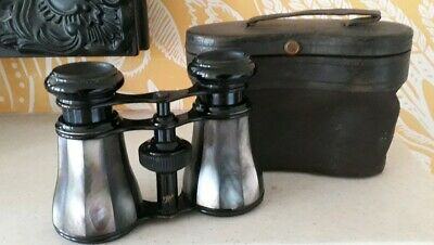 Vintage Opera Glasses Abalone/ Mother Of Pearl In Leather Case