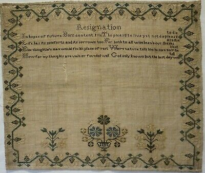 """EARLY/MID 19TH CENTURY UNFINISHED """"RESIGNATION"""" VERSE & MOTIF SAMPLER - c.1845"""