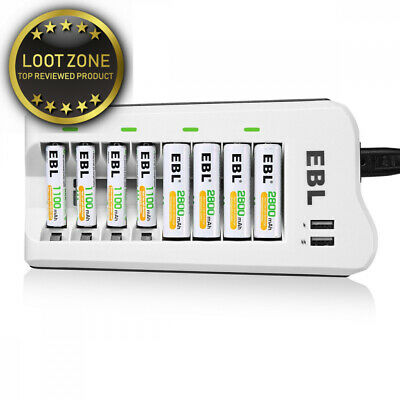EBL Upgraded USB Outputs 8 Bays AA AAA Battery Charger with 8 Packs...