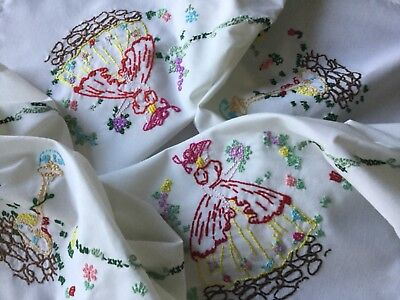 "Vintage hand embroidered crinoline ladies tablecloth 33"" x 33"""