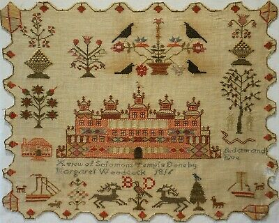 Early 19Th Century Solomon's Temple & Motif Sampler By Margaret Woodcock - 1816