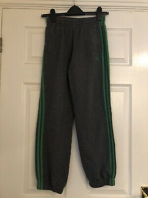 Adidas Grey Green Tracksuit Jersey Jogging Bottoms Pants  Boys Age 11 12 Years