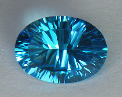 6.61Ct Spectacular Concave Oval Cut **aaa** Vivid Electric Blue Brazilian Topaz