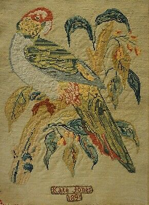 Late 19Th Century Needlepoint Of A Parrot On A Blossom Branch By Kate Jones 1891