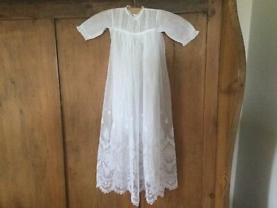 Baby's lace and net Christening gown over net petticoat sewn in