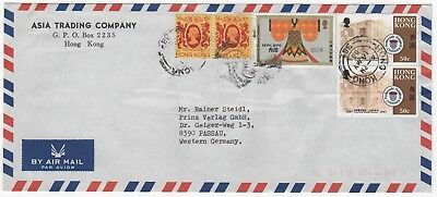 1988 HONG KONG QEII Air Mail Cover to PASSAU GERMANY Asia Trading Co