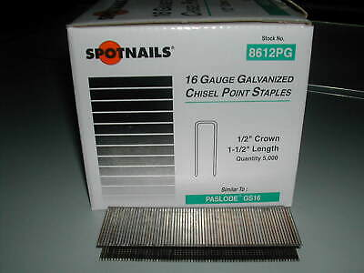 Spotnails 8612PG 1/2 Crown Staples 16 Gauge 1 1/2 for Paslode Dewalt (5,000)