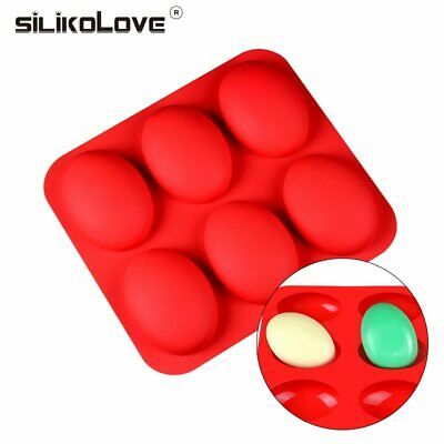 SILIKOLOVE Oval 3D Soap Molds Silicone 6Cavity Handmade Non-stick Making Mold Cr