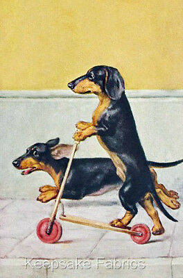 Dachshunds Scooter Fabric Quilt Block Multi Size FrEE ShiP WoRlD WiDE