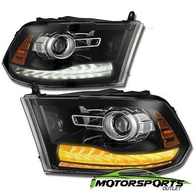 [New Ram Style] 2009-2018 Dodge Ram Polished Black LED DRL Projector Headlights