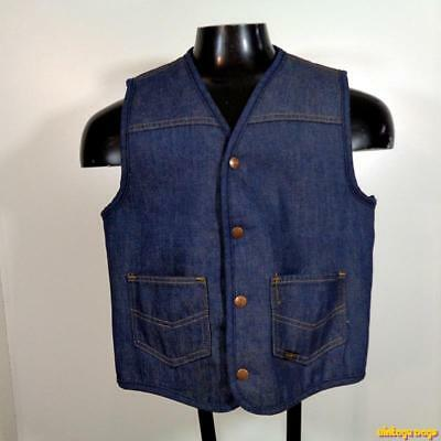 SEARS WESTERN Vintage Denim Jean VEST Mens Size M medium blue Sherpa pile lined