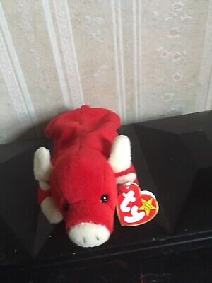 3ee62a27590 TY BEANIE BABY SNORT Bull 1995 RETIRED EXTREMELY RARE 4002 ALL ...