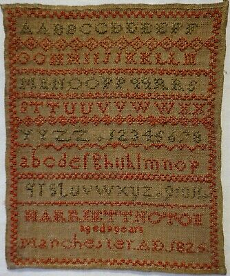 Early 19Th Century Alphabet Sampler By Harriett Noton Of Manchester Age 9 - 1825