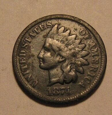 1874 Indian Head Cent Penny - VG to Fine Condition / Dark / Corroded - 48SU