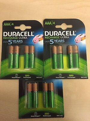 12 x Duracell AAA Ultra 900 mAh Rechargeable Batteries