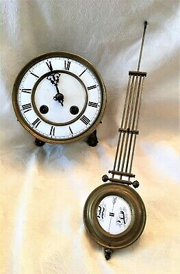 Antique Clock Face, Movement & Pendulum for Parts
