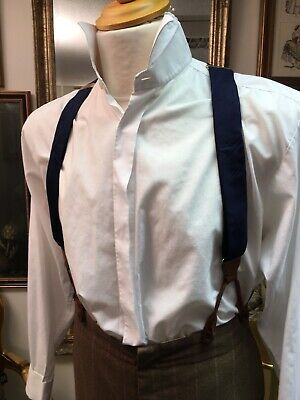 Handsome Pair Of Adjustable Period Style Blue Button On Braces.