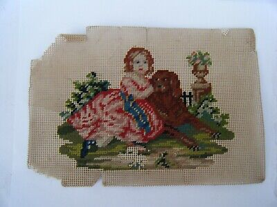 Wonderful Antique Needlework Punch Paper Tapestry Embroidery Picture Girl & Dog