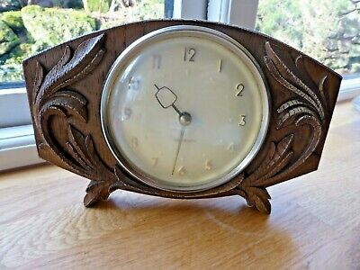 Vintage Westclox wind-up table mantle clock- lovely wooden case carved surround