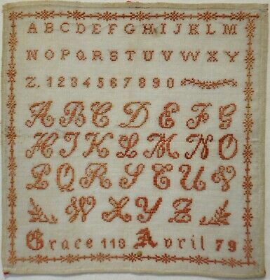 Late 19Th Century French Red Stitch Work Alphabet Sampler By Grace April - 1879