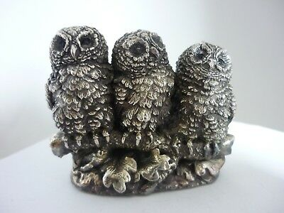 Superb Vintage Sterling Silver Sculpture Of 3 Owlets On A Branch Country Artists