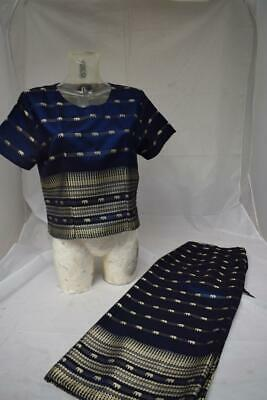2 piece Sari set in midnight blue and printed with gold elephants. XL