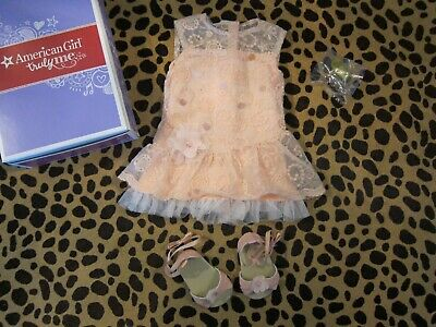 "EUC AMERICAN GIRL 18"" Doll Shimmer Lace Dress Shoes Outfit In Box"