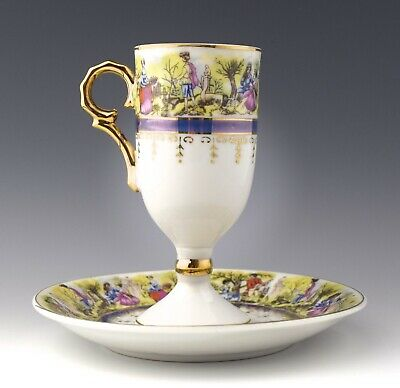 Victorian Couples Royal Vienna Egg Cup & Saucer - NO RESERVE CD-102