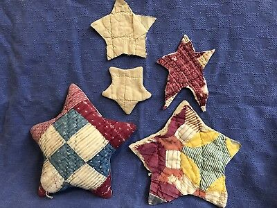 Gathering Of Vintage Quilt Stars for projects, sewing, crafts, accents,Americana