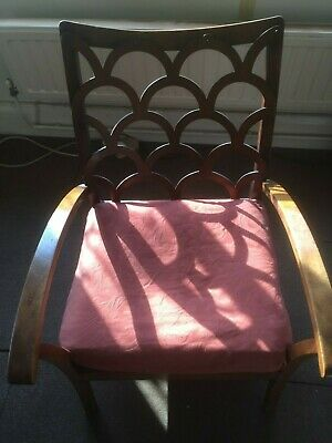 Vintage Oak Wooden Chair with leather seat