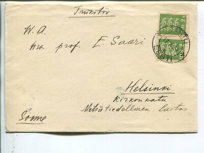Estonia 2x2s on printed matter cover to Finland 1929