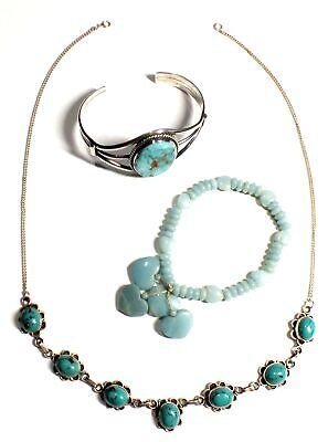925 STL SILVER Green NEPHRITE, TURQUOISE & HOWLITE Jewellery Set, 60.97 - G28