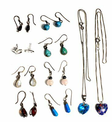 10x 925 STL SILVER Assorted Earrings & Chains w AMBER & MOONSTONE, 21.09g - H10