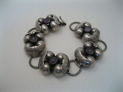 Lot 4 - Great Vintage Mexican Sterling Silver & Amethyst Bracelet