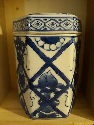 Antique Chinese Dechang Taoci Porcelain Blue and White Octagon Ginger Jar
