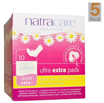 NEW 5PACK Natracare, Organic & Natural Ultra Extra Pads, Super, 10 Pads each