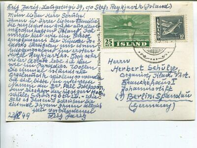 Iceland picture post card to Germany 23.5.1949
