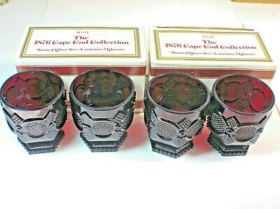 Avon 1876 Cape Cod Collection Footed Glass Set Ruby Red Set of 4