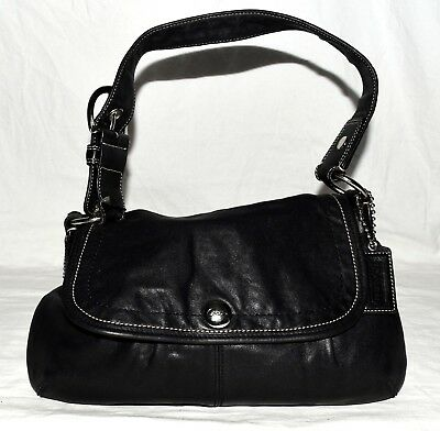 331fab94a377 Authentic Coach F13729 Soho Black Leather Pleated Snap Flap Shoulder Bag  Handbag