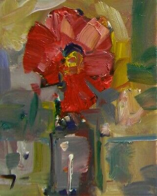 JOSE TRUJILLO OIL PAINTING Red Flower Impressionist Fine Art Decor Collectible