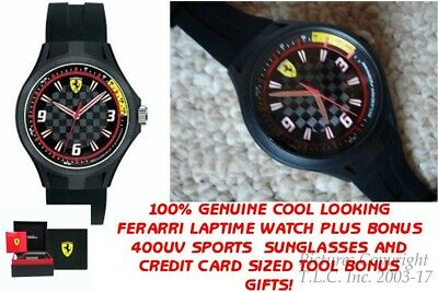 NEW Scuderia Ferrari 0830278 Black Carbon Fiber Pit Crew Silicone Mens Watch