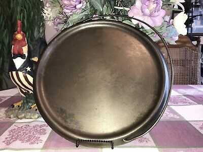 """Vintage Steel Wrought Iron 15"""" Very Large Griddle With Bail, Camping, Restored"""