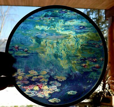 MONET WATER LILIES Leaded Glass WINDOW or WALL HANGING w/Chain Hanger