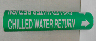 """Lot of 8 New Pipe Marker, Chilled Water Green 12"""" Long"""