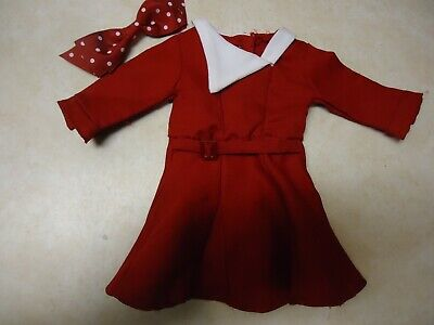 American girl doll Kit Holiday Dress & hair bow  flawed