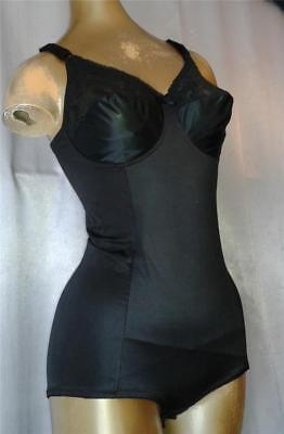 SLIMMING GLOSSY BLACK Vintage 1980s LACY BODY SHAPER GIRDLE -sz 38 B