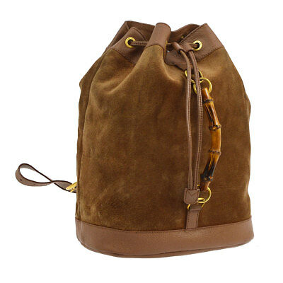 cf64a0059319 Auth GUCCI Bamboo Backpack Hand Tote Bag Brown Suede Leather Vintage AK18701